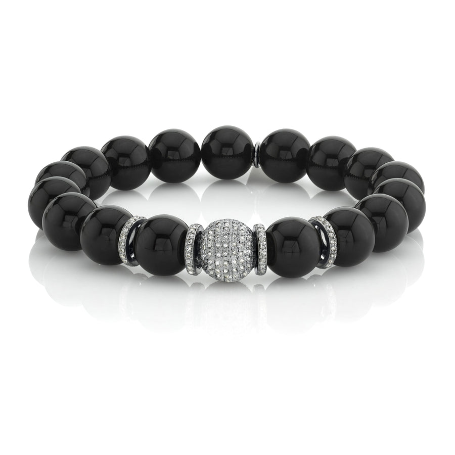 Black Onyx Bracelet With Round Pavé Diamond Bead
