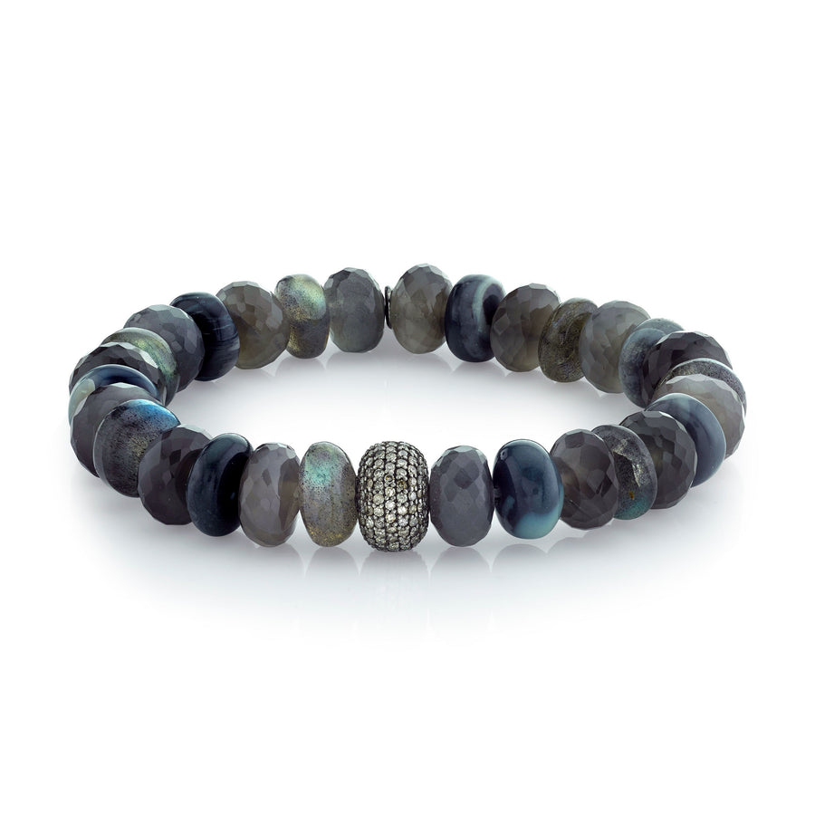 Gray Mixed Gemstones Bracelet With Diamond Donut