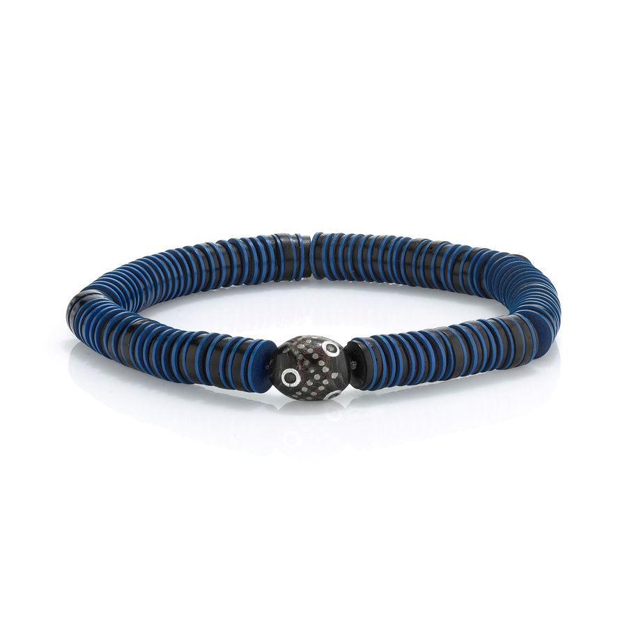 Mr. LOWE Blue Vinyl Bracelet with Yemen Bead