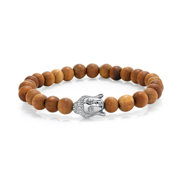 SANDALWOOD BRACELET WITH SILVER BUDDHA