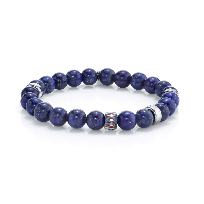 LAPIS BRACELET WITH AFRICAN BEAD