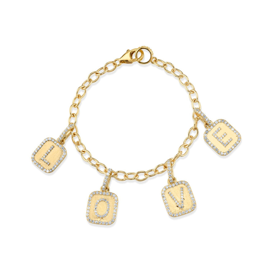 14K Gold Link Chain Bracelet with Pavé Diamond LOVE Charms