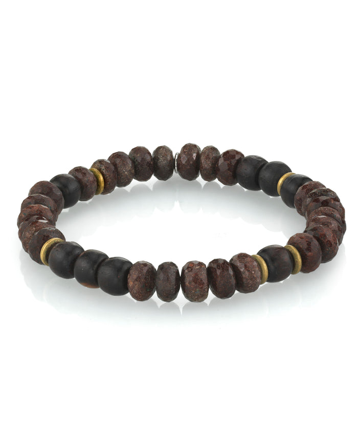BROWN MIXED BRACELET WITH BRASS BEADS