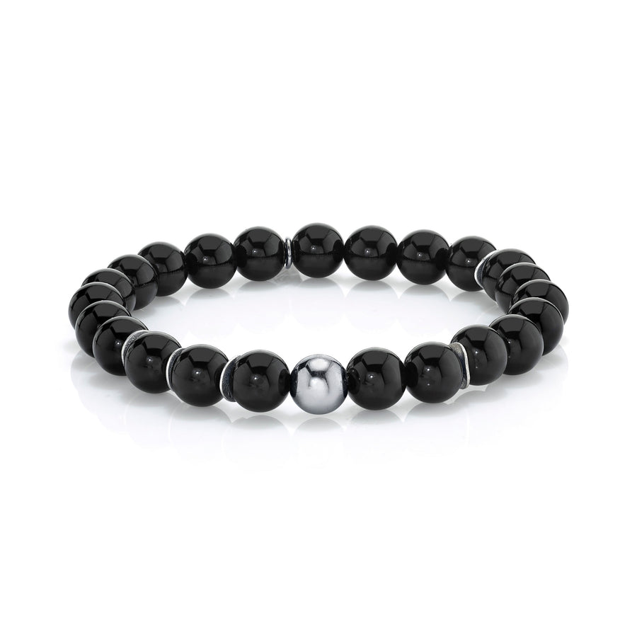 Mr. LOWE Onyx Bracelet with Silver Bead and Silver Discs