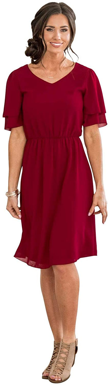 Claire Modest Chiffon Dress, Modest Short Bridesmaid Dress