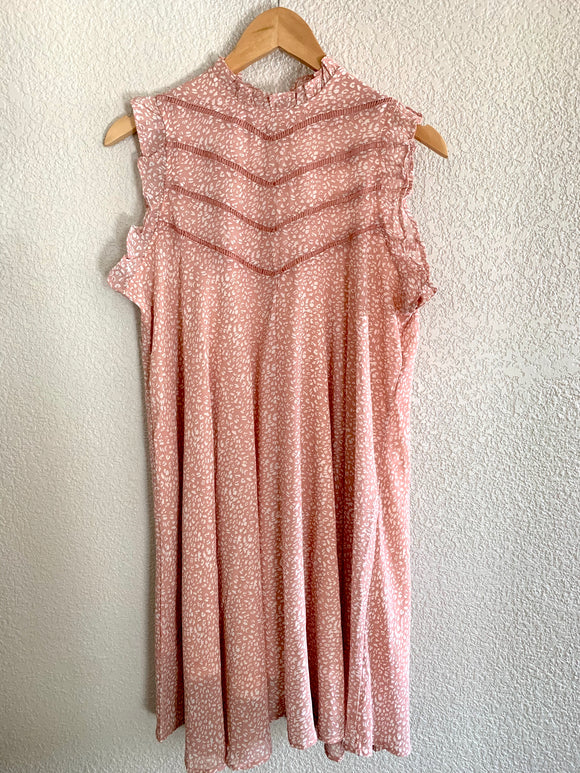 Ruffled Dusty Pink Mock Neck Leopard Dress