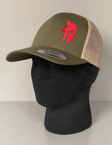 KHAKI TRUCKER 'SPARTAN RED'