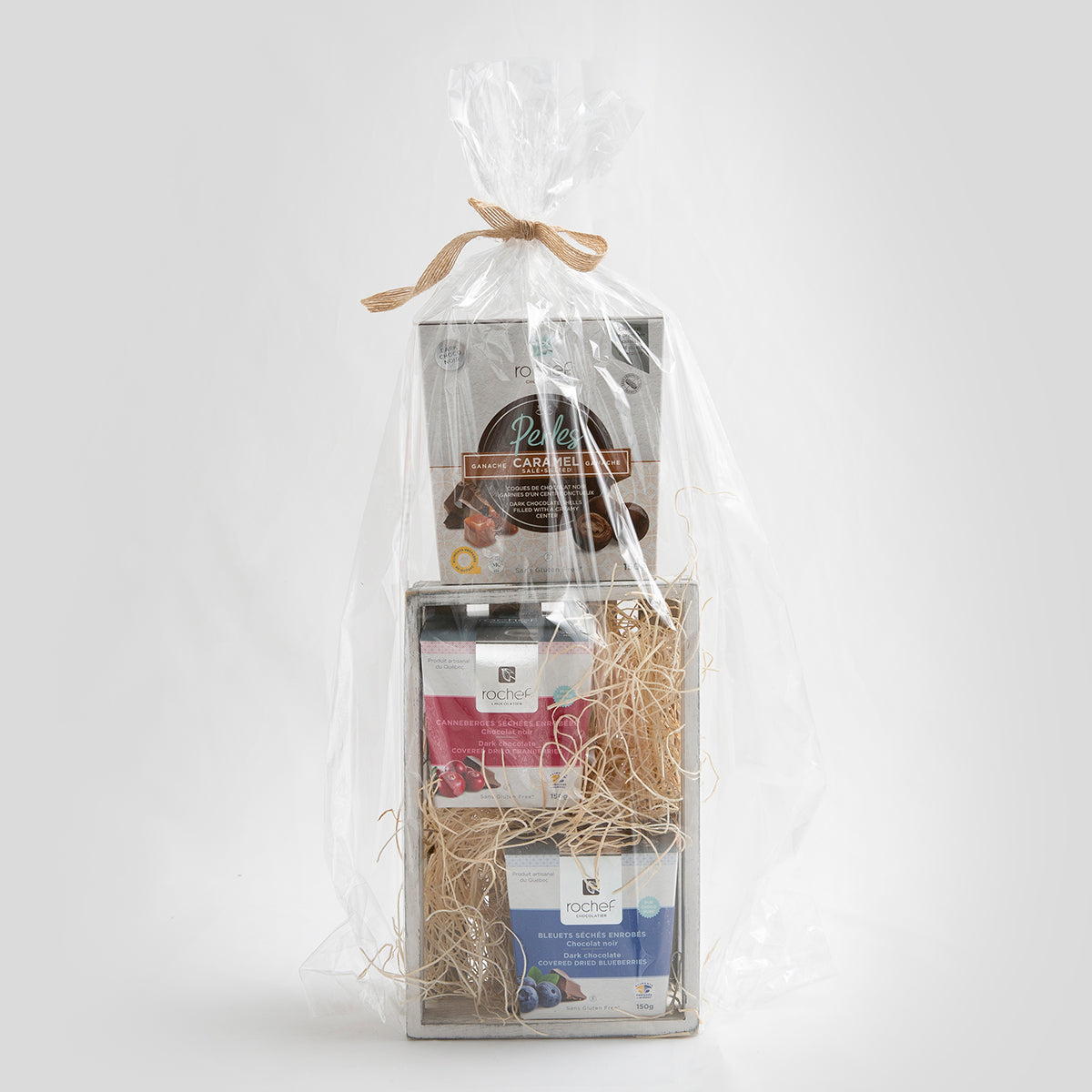 Gift Basket covered chocolate and chocolate perle collection