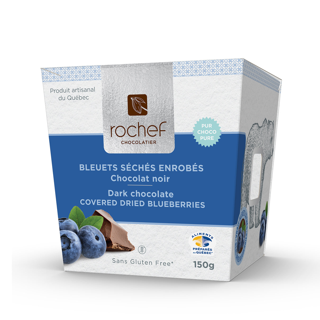Dark chocolate covered real dried blueberries 150g. gift box