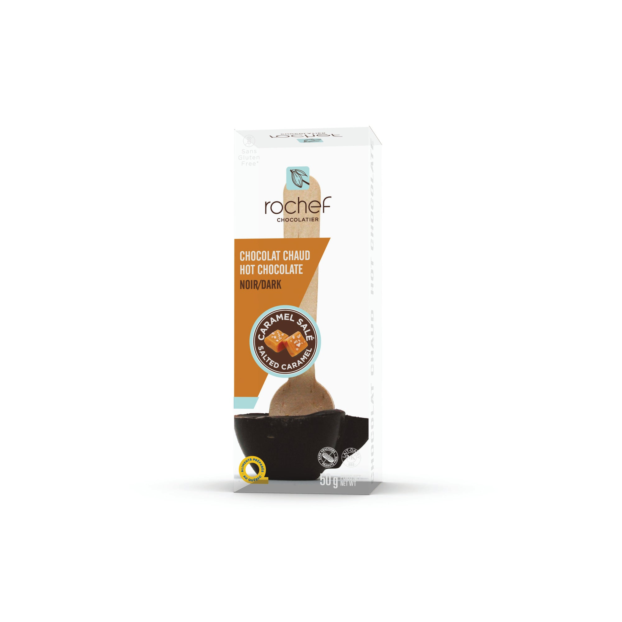 Dark and salted caramel hot chocolate on a spoon 50g.