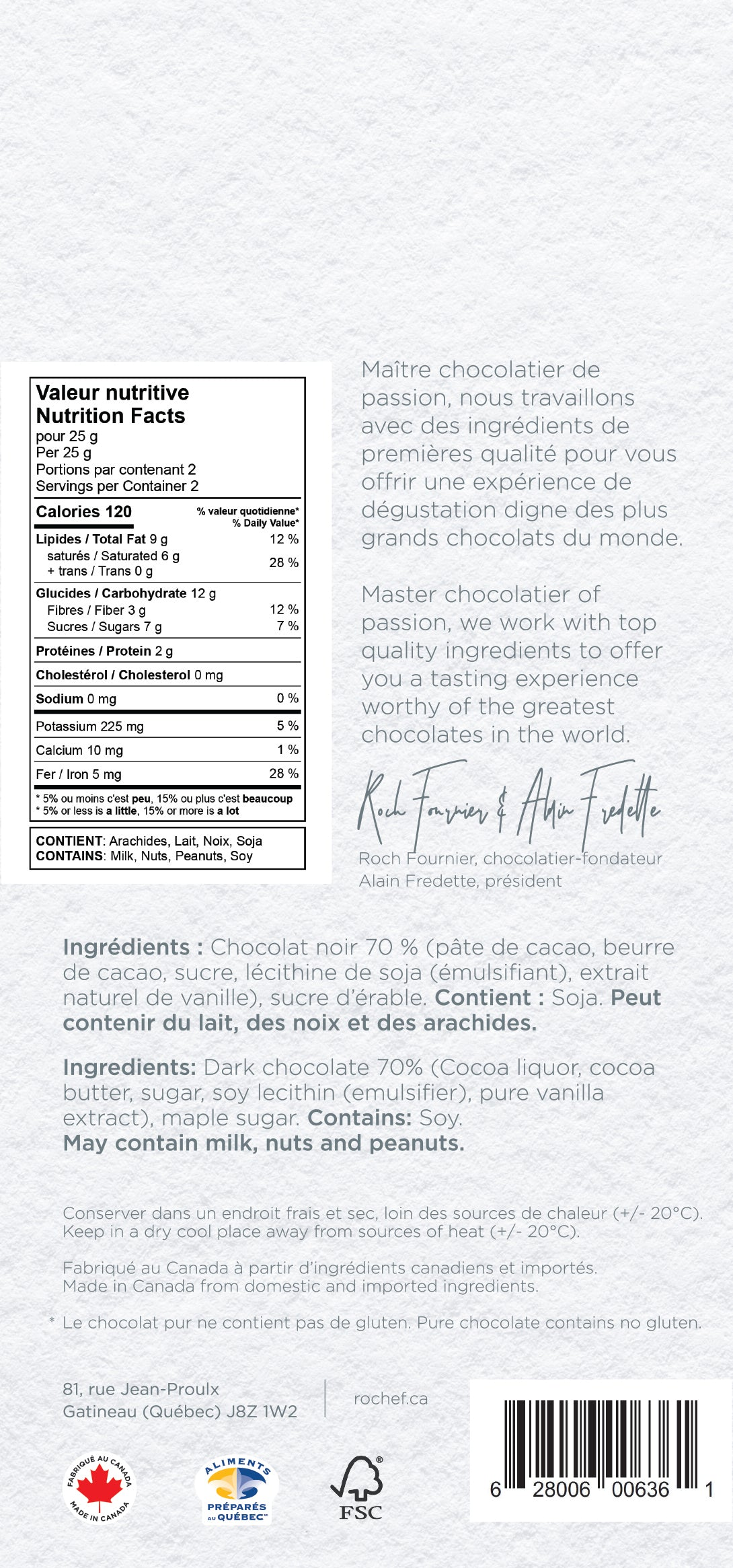 Sucre d'érable Tablette gourmande au chocolat noir 50g.