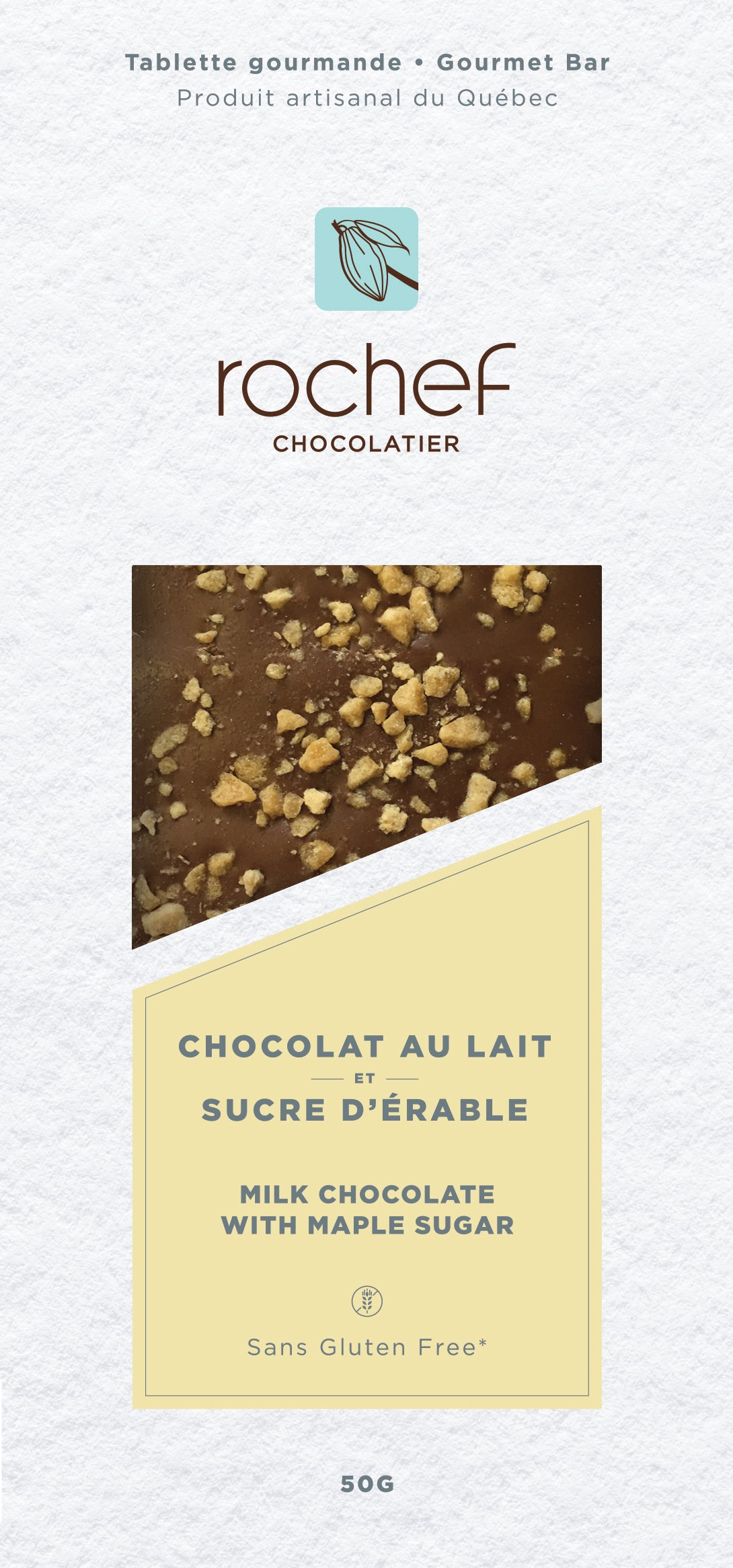 Sucre d'érable Tablette gourmande en chocolat au lait 50g.