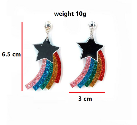 Star Earrings Rainbow
