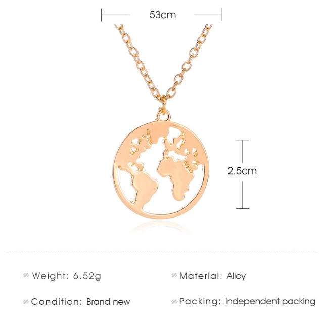World Map Layer Neck Chain Necklace