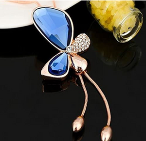 Crystal Stone Butterfly Gold Plated Necklace