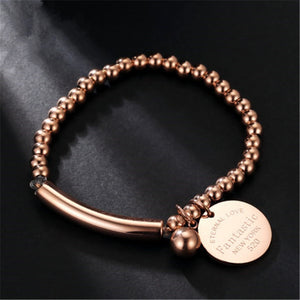 """Fantastic Eternal Love New York"" Stainless Steel Ball Beads Bracelet"