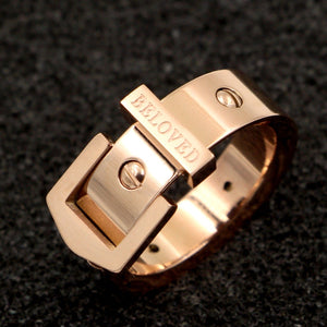 Punk Nail Belt Buckle Ring Stainless Steel Rose Gold