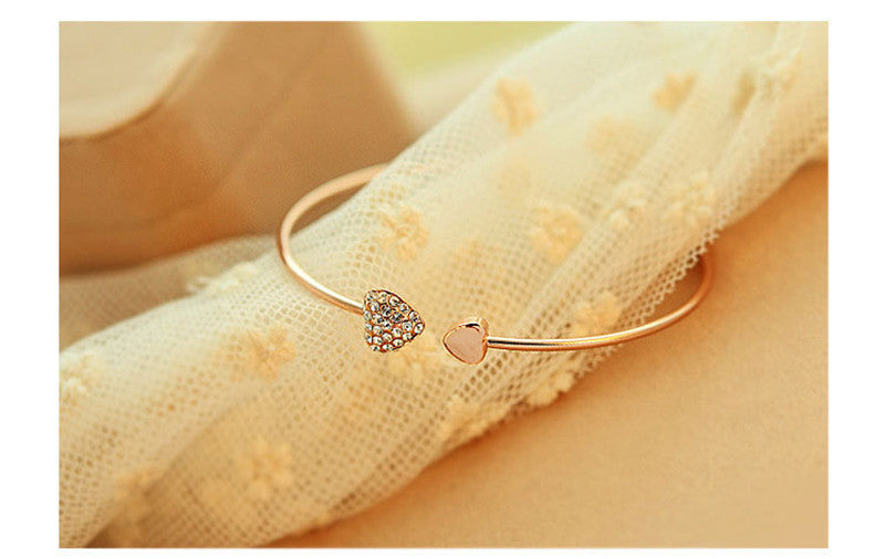 Adjustable Crystal Double Heart Bow Cuff Opening Bracelet