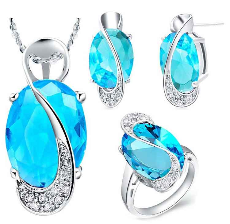 Multi Color Blue Silver Earrings & Necklace Set