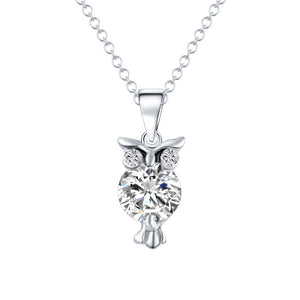 Crystal Wild Owl Pendant Necklace Gold & Silver