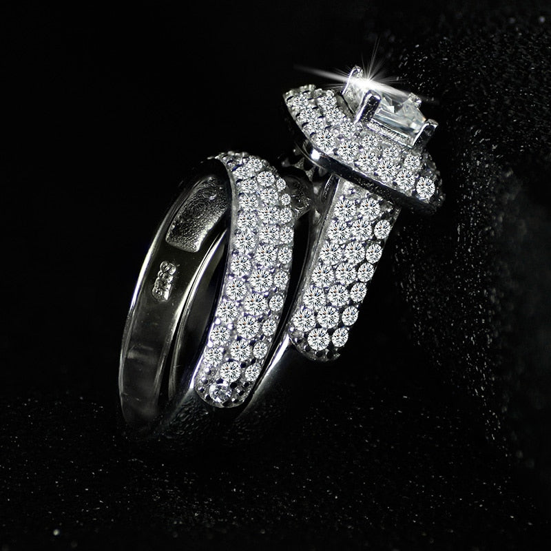 Bridal Set Silver Wedding Ring