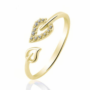 Real Leaf Champagne Gold & Silver Ring