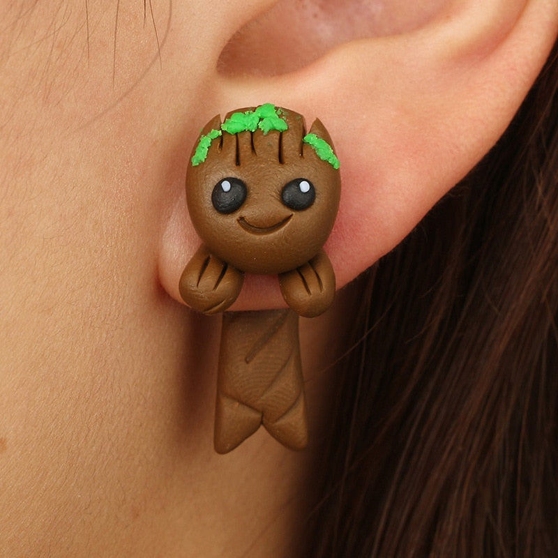 Cartoon Groot Soft Ceramics Stereoscopic Handmade Earrings