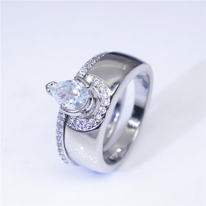 Pear Cut Cubic Zironia Micro Pave Engagement Ring