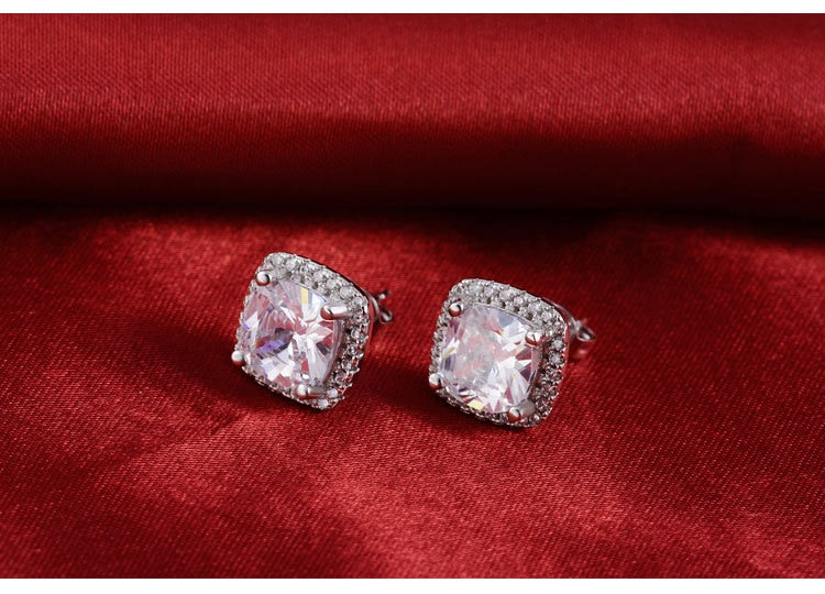 Cushion Cut Zirconia Set Silver Ring & Earring