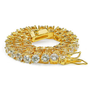 Brass Tennis Row Cubic Zircon Gold Silver Finish Bracelet