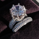 Luxury Huge Stone Zircon Silver Ring