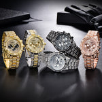 Luxury Diamond Ice-out Quartz Man Wrist Watch Golden Steel Waterproof