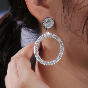 Big Round Earrings 925 Silver Alloy