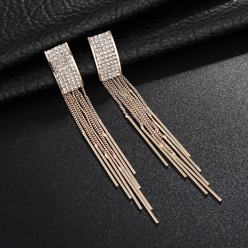 Crystal Tassel Shiny Gold & Silver Titanium Earrings