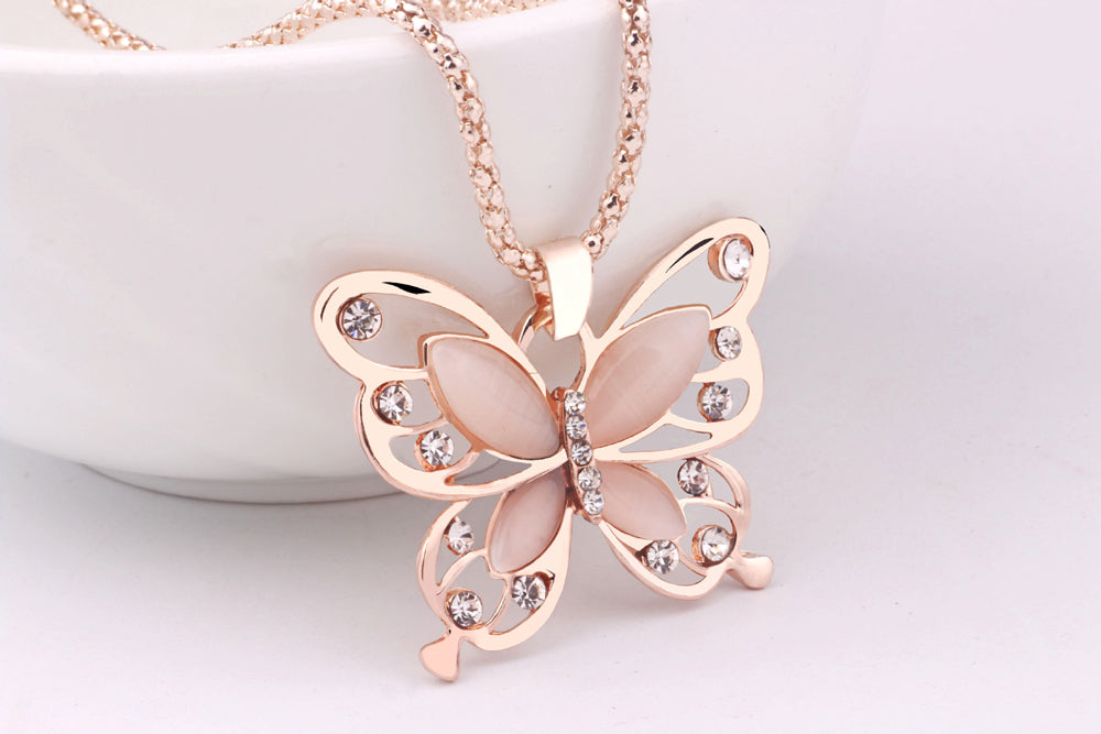 Rose Gold Pink Opal Butterfly Pendant Necklace Sweater Chain