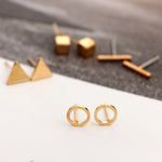 Round, Triangle Shaped Geometric Alloy Stud Earring