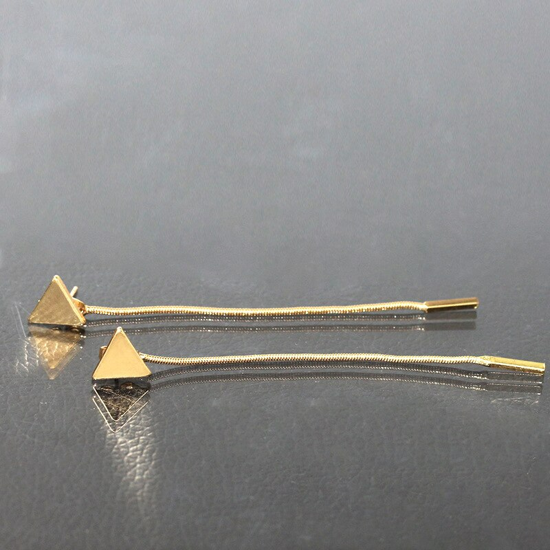 Minimalist Triangle Chain Gold & Silver Earring