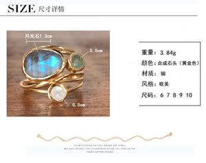 Gold Color Mosaic Colorful Moonstone Ring Special