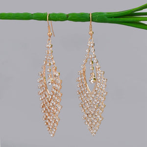 Austrian Crystal Long Dangle Gold & Silver Plated Earrings