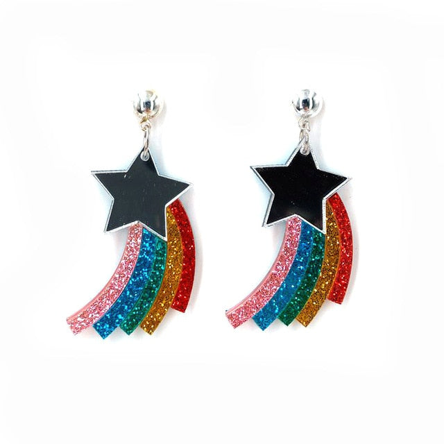 Fashion Acrylic Rainbow Star Lovely Earrings