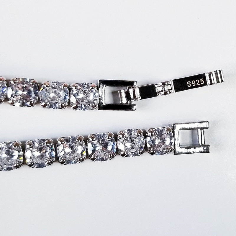 Tennis Princess Cut CZ Silver Bracelet