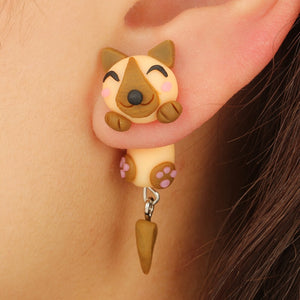 Cartoon Happy Dog Soft Ceramics Stereoscopic Handmade Earrings.