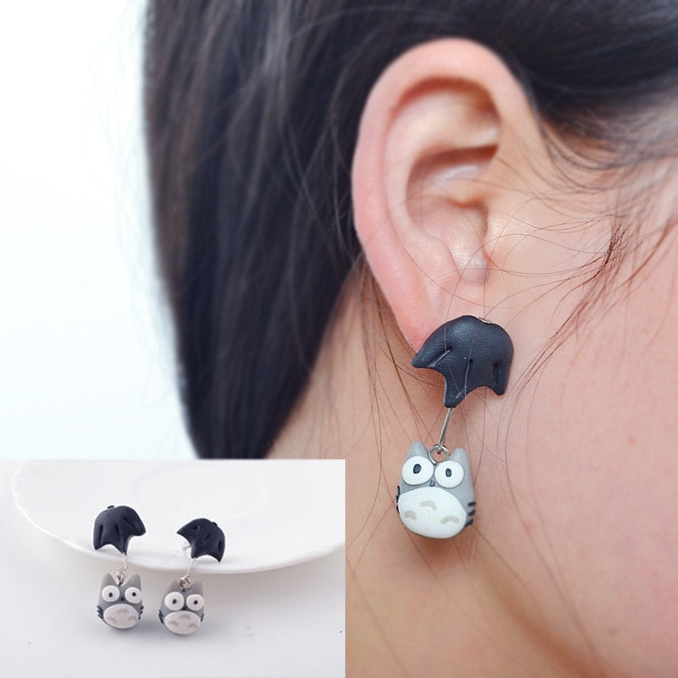 Cartoon Umbrella Totoro Soft Ceramics Stereoscopic Handmade Earrings.