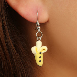 3D Peeled Banana Soft Ceramic Stereoscopic Handmade Earrings