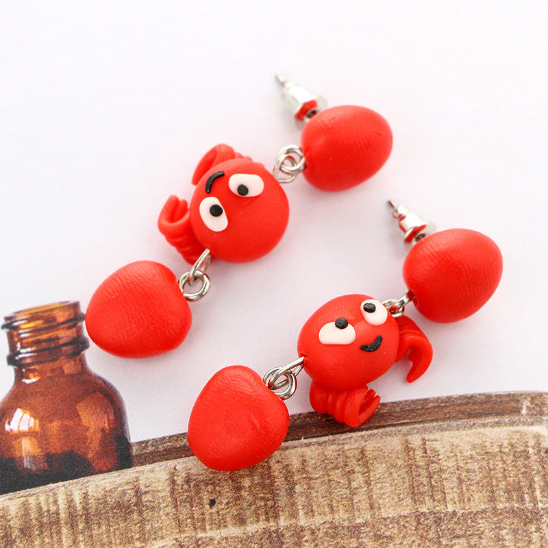 Cartoon Red Crab Soft Ceramics Stereoscopic Handmade Earrings.