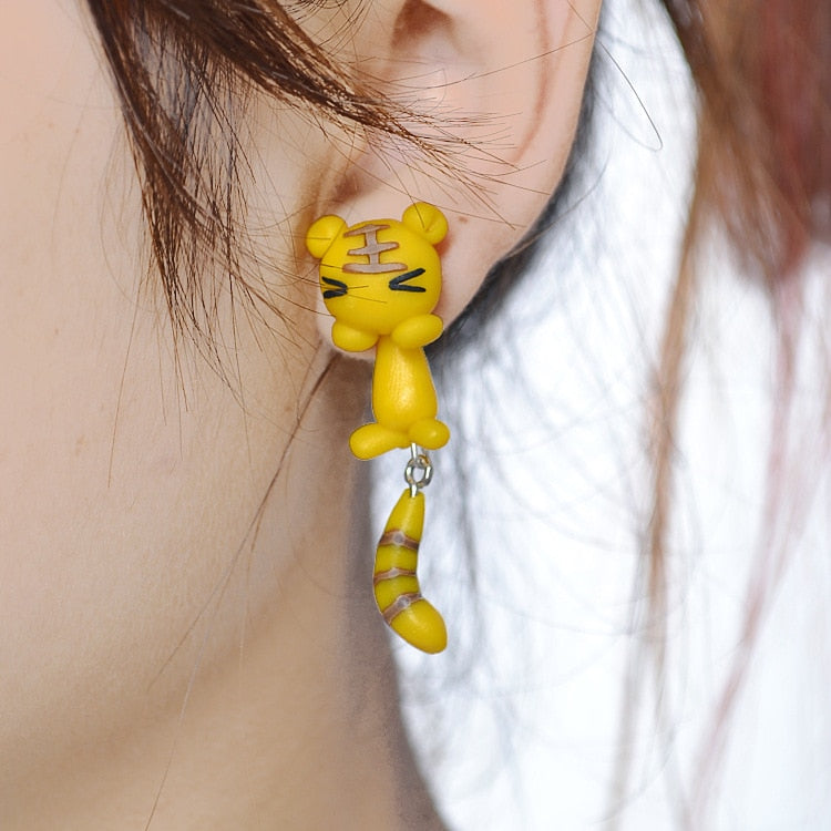 Cartoon Little Tiger Soft Ceramics Stereoscopic Handmade Earrings.