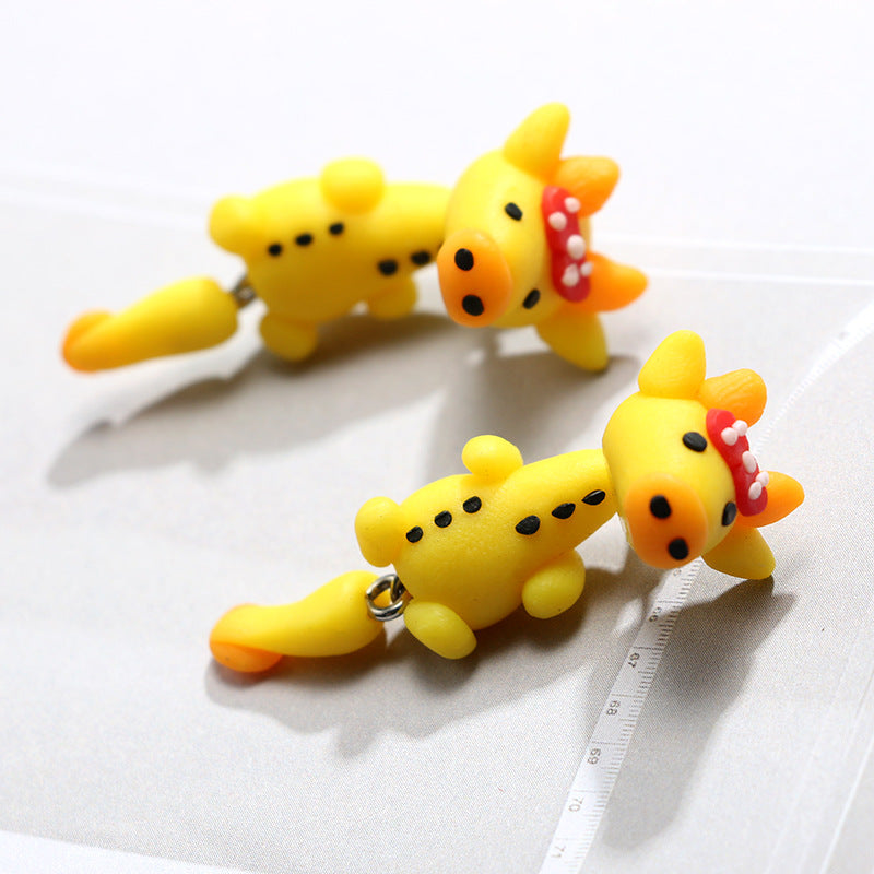 Cartoon Giraffe Soft Ceramics Stereoscopic Handmade Earrings.