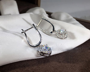 Classic Round Glass Silver Earring