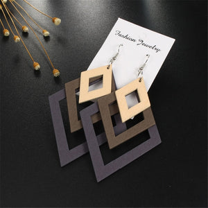 Natural Wood Layered Triangle Earring