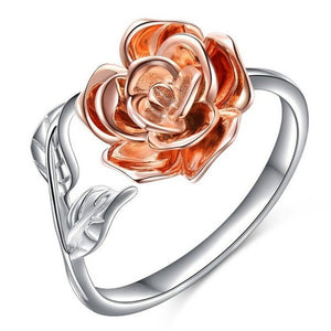 Rose Flower Vintage 925 Silver Adjustable Ring